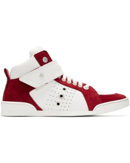 White & Red Lewis High-top Sneakers