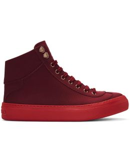 Red Argyle High-top Sneakers