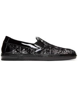 Black & Silver Velvet Grove Slip-on Sneakers