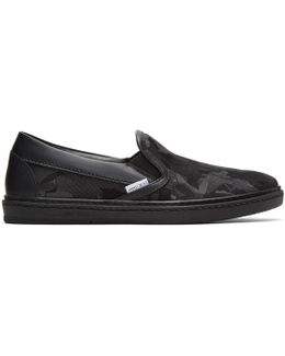 Black Camouflage Grove Slip-on Sneakers