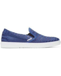 Blue Croc-embossed Grove Slip-on Sneakers