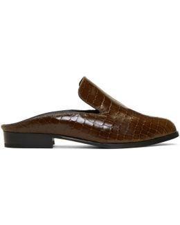 Brown Croc-embossed Alice Slippers