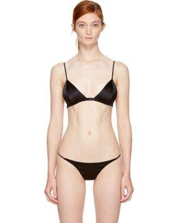 Black Luxe Silk Triangle Bra