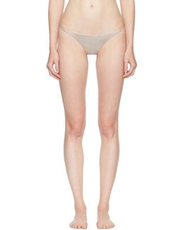 Grey Luxe Silk V String Thong
