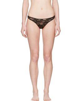 Black Chat Noir Lace High Leg Thong