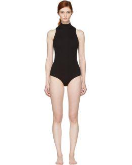Black Turtleneck Crossback Bodysuit