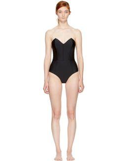Black Strapless V-neck Bodysuit