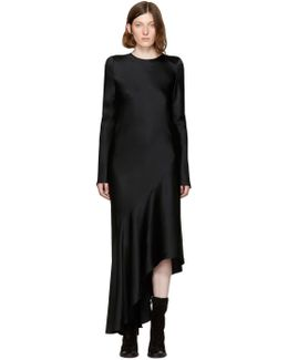 Black Satin Asymmetric Dress