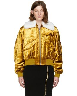 Gold Velvet Bomber Jacket
