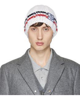 White Cashmere Striped Beanie