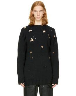 Black Broken Sweater