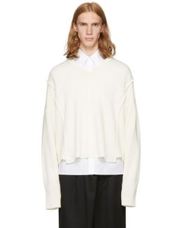 Off-white Oversized Detached V-neck Sweater