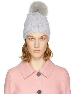 Grey Cable Knit Fur Pom Pom Beanie