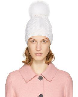 Ivory Cable Knit Fur Pom Pom Beanie