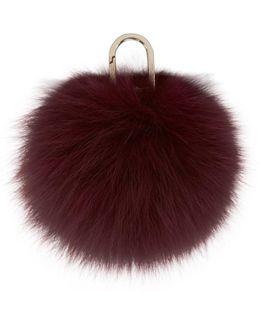 Red Fur Pom Pom Keychain