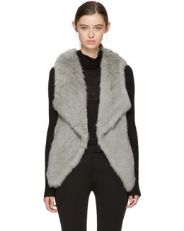 Grey Knit Fur Lapel Vest