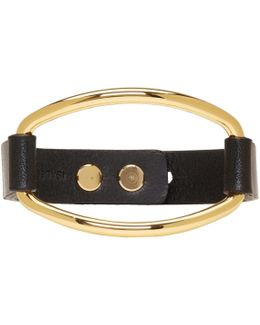 Black & Gold Leather Bracelet