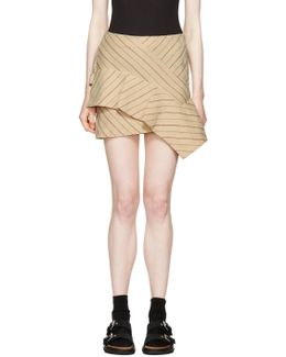 Ecru Pinstripe Kimura Miniskirt