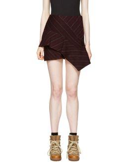 Burgundy Pinstripe Kimura Miniskirt