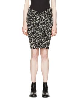 Geometric And Floral Print Ruched Skirt