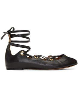 Black Leomia Lace-up Ballerina Flats