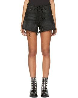 Black Denim Strap Shorts