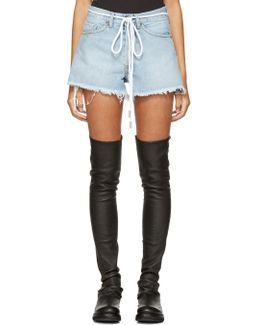 Blue Denim Diagonal Shorts