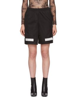 Black Brushed Diagonal Mesh Shorts