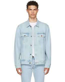 Blue Oversized Denim 'not Real' Angel Jacket