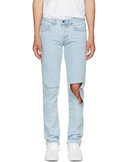 Blue Diagonal Raw Cut Slim Jeans