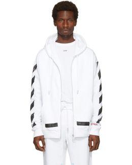 White Diagonal Brushed Zip Hoodie