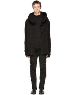 Black Hooded Zip Parka