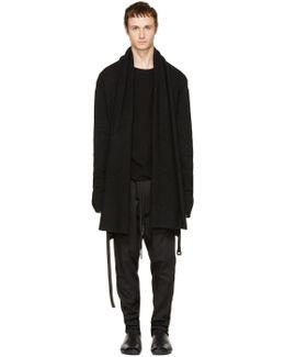 Black Belted Wrap Cardigan