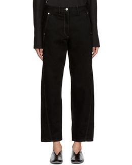 Black Denim Twisted Trousers