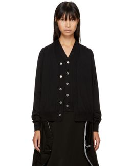 Black Wool Double Front Cardigan