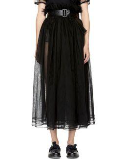 Black Gathered Tulle Skirt