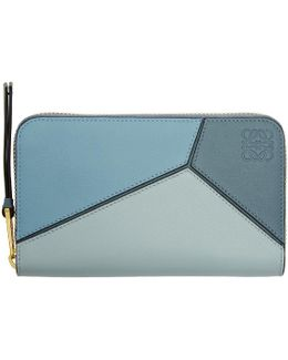 Blue Puzzle Zip Around Wallet