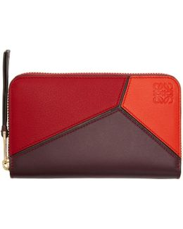 Red Puzzle Zip Around Wallet