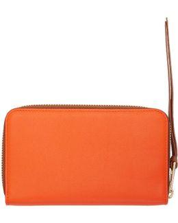 Orange Medium Zip Around Wallet