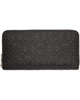 Black Medium Anagram Zip Around Wallet