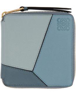 Blue Small Puzzle Zip Around Wallet