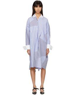 Blue & White Oversized Patchwork Shirt Dress