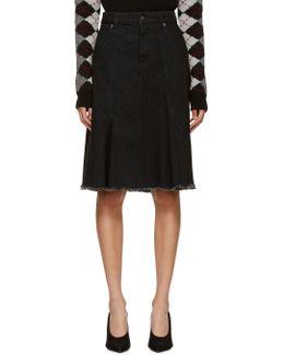 Black Denim Raw Hem Skirt