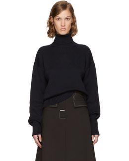 Navy Cotton & Wool Turtleneck