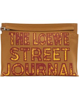 Tan 'street Journal' T Pouch