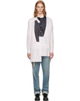 White & Red Striped Asymmetric Leather Bib Shirt