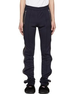 Navy & Black Super Long Zip Track Pants