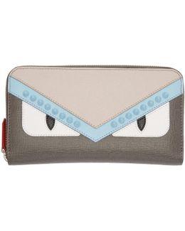 Grey 'bag Bugs' Zip Around Wallet