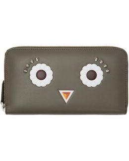 Grey Flower Eyes 2jours Zip Wallet