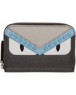 Grey Mini 'bag Bugs' Zip Around Wallet